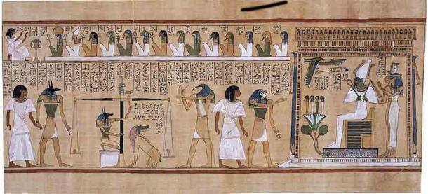 In order to reach the afterlife, the dead body needed to be preserved. During judgment their heart would be weighed and compared against a feather of Maat, and the righteous would be welcomed into Aaru, the heavenly paradise ruled by Osiris, the god of the afterlife. (Public domain)