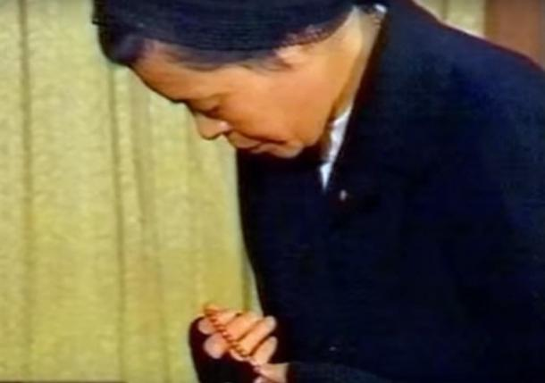 Sister Sasagawa praying.