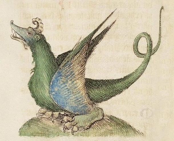 An alchemical dragon illustrated in a 1460 edition of the Medieval