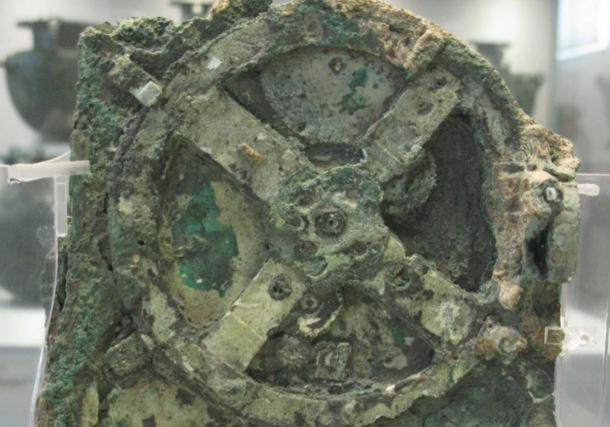 The amazing Antikythera Mechanism found in a shipwreck off the island of Antikythera in Greece.