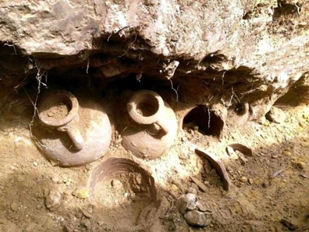 Some of the amphorae as they were discovered.