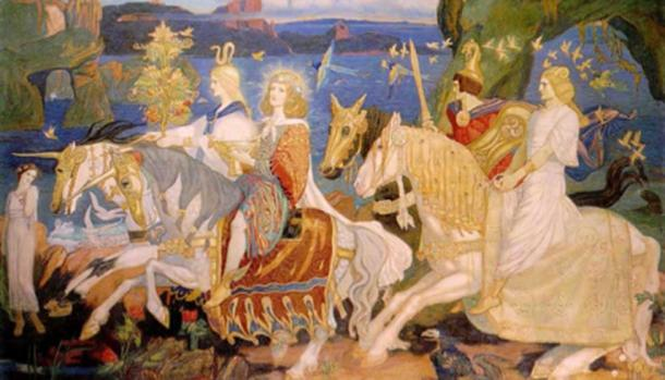 Riders of the Sidhe. (1911) John Duncan. This is an imaginary representation of what the famous Irish 'fairy people' the Tuatha Dé Dannan (ancestors of the Leprechauns and other fairies) may have looked like.