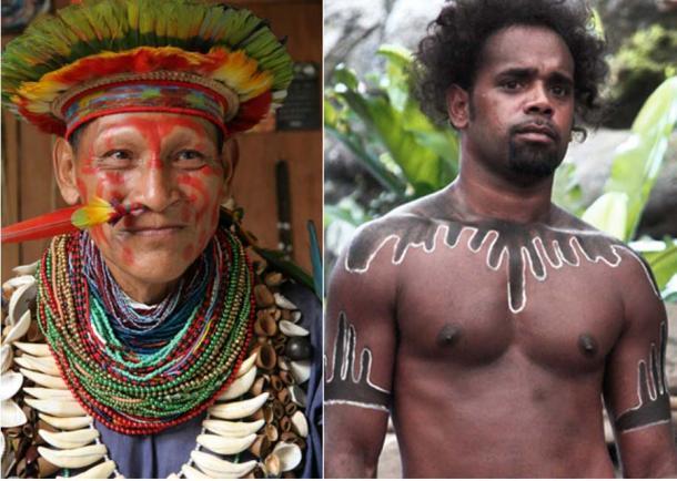 Amazon and Australian Aboriginals share common ancestors. Left: Amazon shaman (Veton PICQ, CC BY-SA 3.0). Right: Australian Aboriginal ( Steve Evans / CC BY-NC 2.0)