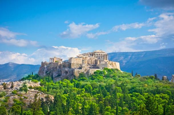 The beautiful ancient Acropolis and Parthenon of Greece.