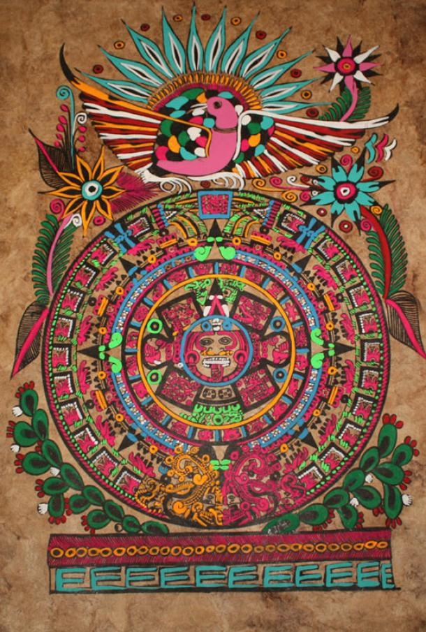 All around the world the sun plays a central role in myth. In this folk art modern representation of an ancient Aztec calendar, the solar disk or sun stone is portrayed.
