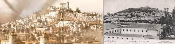 Artist's reconstruction of ancient Carthage from SEGA Total War Gamepage footage and (right) Castelo Branco in the last century