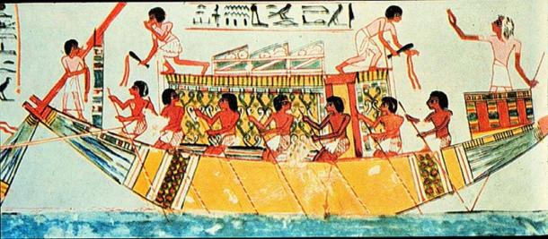 An ancient Egyptian boat.