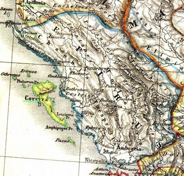 Map of ancient Epirus by Heinrich Kiepert.