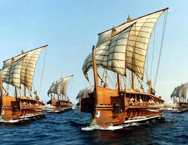 Reconstruction of ancient Greek galleys. (Public Domain)