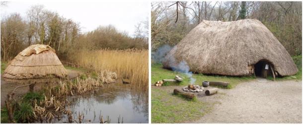 Reconstruction of an ancient Hunter gatherer hut and a First Irish Farmer hut at Irish National Heritage Park, Wexford, Ireland.