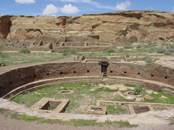 The ruins of an ancient Kiva or ceremonial room at Chaco Canyon; many Pueblo Indians still use kivas in their own religious ceremonies today.