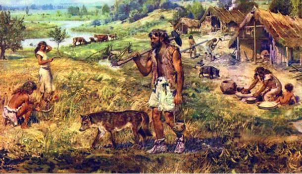 An artist's depiction of ancient Neolithic farmers.