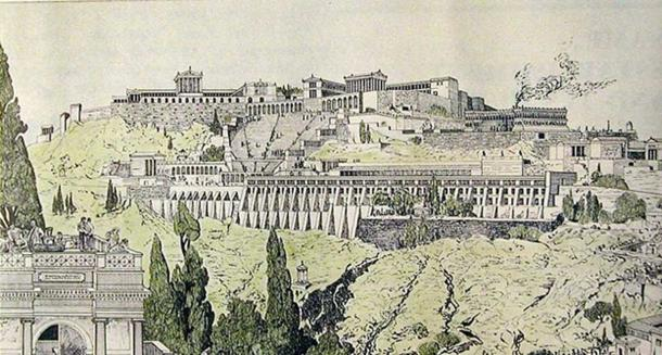 Drawing of ancient Pergamon. Scanned from the booklet of Pergamon Museum, Berlin. Image drawn by 19th century German archaeologist