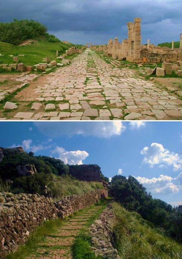 Two examples of ancient Roman roads: one at Leptis Magna, Libya (top) (CC BY-SA 3.0) and another at Santa Àgueda, Minorca (Spain) (bottom).