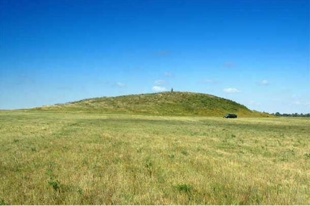 Example of an ancient burial mound (kurgan) in Russia
