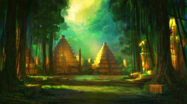 Illustration of ancient city in the Amazon, licensed for reuse.