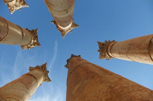 The ancient city of Jerash was unoccupied after the earthquake that destroyed the house in which the silver scroll was found but later was inhabited again and still is. These columns are among the ancient city's ruins.