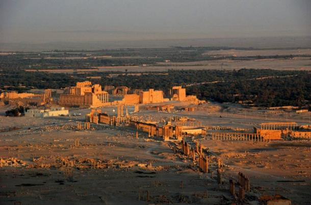 Aerial View of the ancient city of Palmyra (Tadmur), 2008, showing the now destroyed Temple of Bel complex, the Colonnade, and the Monumental Arch.