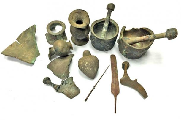 The ancient finds that were retrieved from the sea and turned over to the Israel Antiquities Authority.