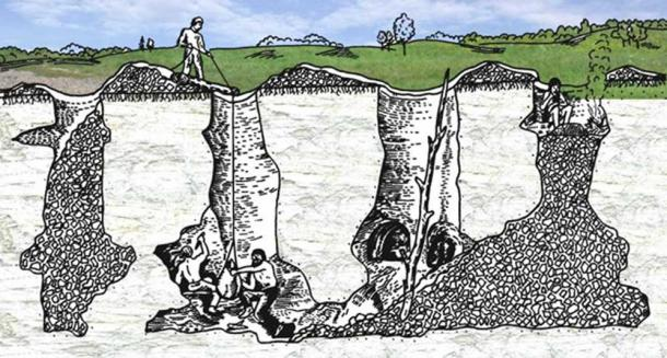 An illustration of ancient flint mining