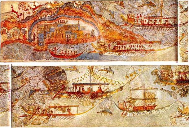 These ancient frescoes from the island of Santorini in Greece show shipping in the Mediterranean Sea.