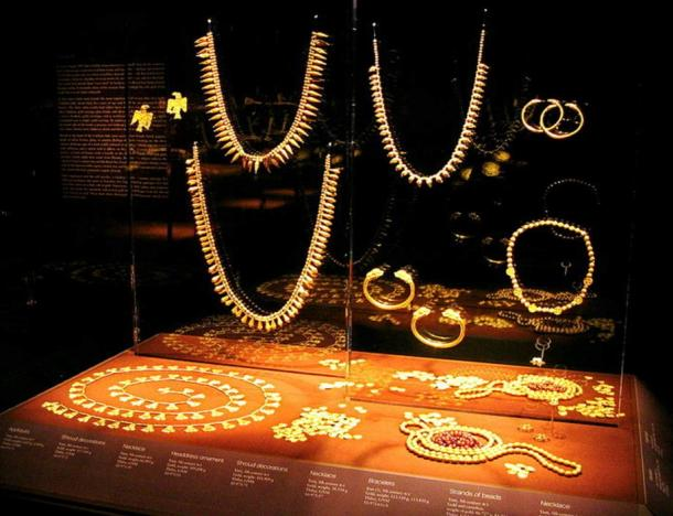 A collection of ancient gold bracelets and necklaces found in Vani, Western Georgia