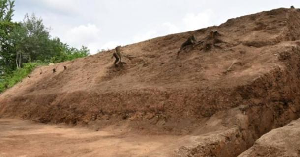 The earthen ramparts that may be hiding an ancient palace.