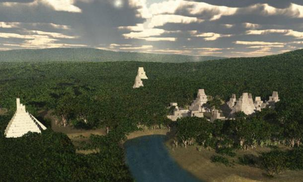 Birds eye rendering showing an ancient reservoir at Tikal