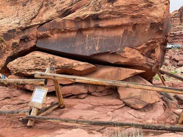 "An ancient rock art panel, known as the ""Birthing Rock,"" has been vandalized in Moab, Utah. (Moab Sun News)"