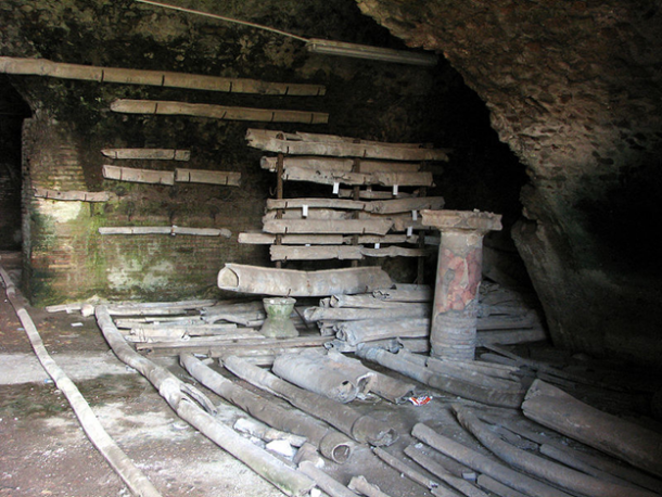 Ancient roman lead pipes in Ostia Antica