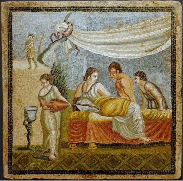 Women in ancient Rome. Romantic scene from a mosaic in Villa at Centocelle, Rome, 20 BC – 20 AD (Wikimedia Commons)