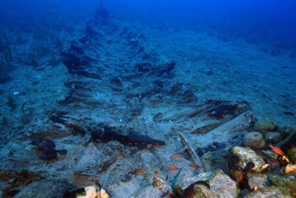 the remains of an ancient ship found near Fourni in Greece.