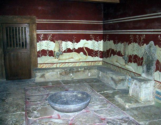 The ancient throne room at Knossos