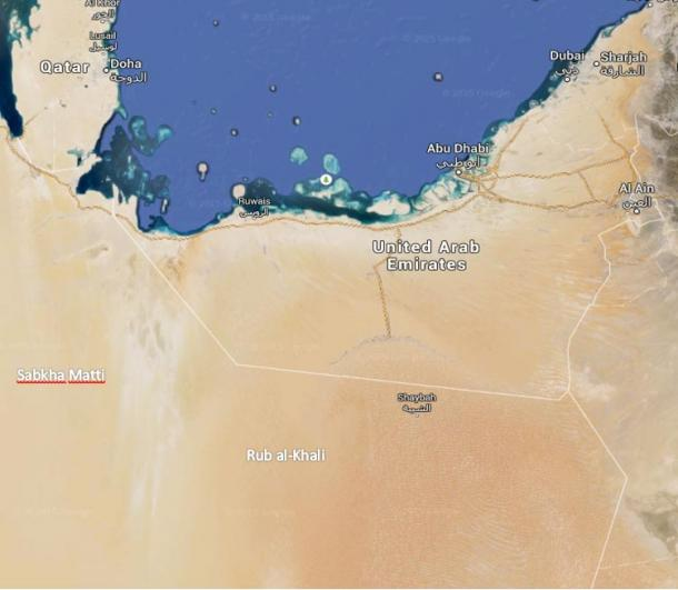 The ancient traces of the Great River: the Sabkha Matti runs 300 km inland. Radar images trace it much further.