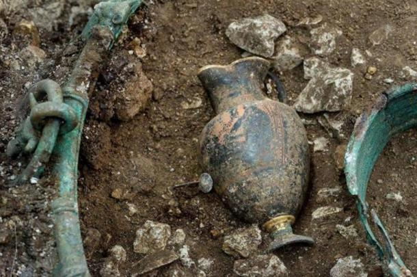 The prince or princess was buried with a wine jug with a drawing of Dionysus, the Greek god of wine and ecstasy.