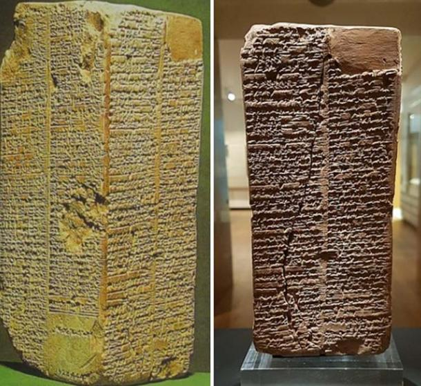Angles of the Sumerian King list. Left: Ashmolean Museum. (Public Domain) and right: The Weld-Blundell Prism, (Gts-tg /  CC BY-SA 4.0)
