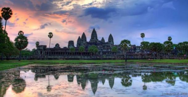 The pervading influence of Hinduism, Buddhism, and Indian architecture can be seen at the spectacular Angkor Wat, Cambodia