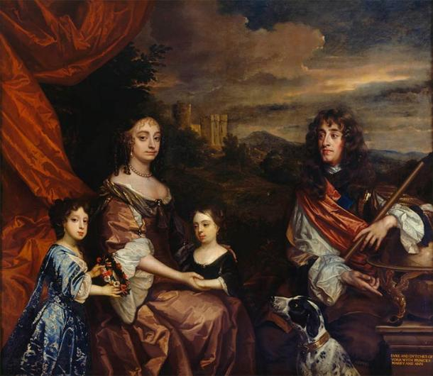 Anne (centre) and her sister Mary (left) with their parents, the Duke (later King James II and VII)  and Duchess of York, painted by Peter Lely and Benedetto Gennari II in 1668 to 1670 (Public Domain)