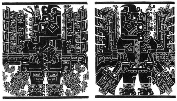 Female and male anthropomorphic avian figures on the Black and White Portal in Chavín de Huántar, Peru.