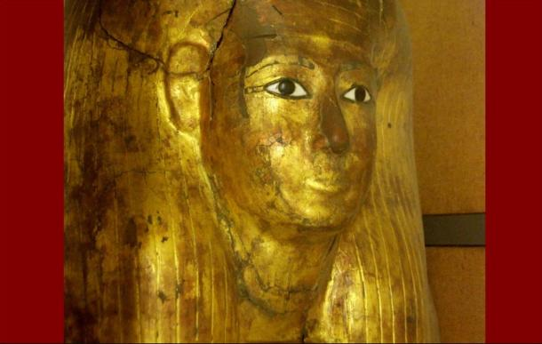 The gilded anthropomorphic coffin of Kha in the Egyptian Museum in Turin
