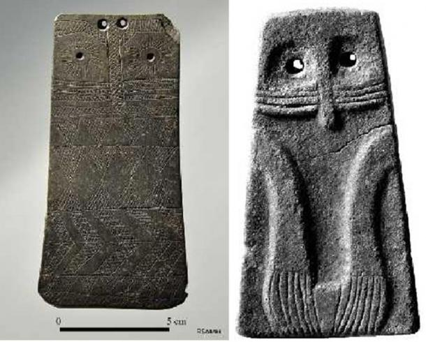 Some of the megalithic tombs were decorated with paintings and plaques.  These two anthropomorphic stone plaques are now in Portuguese museums.