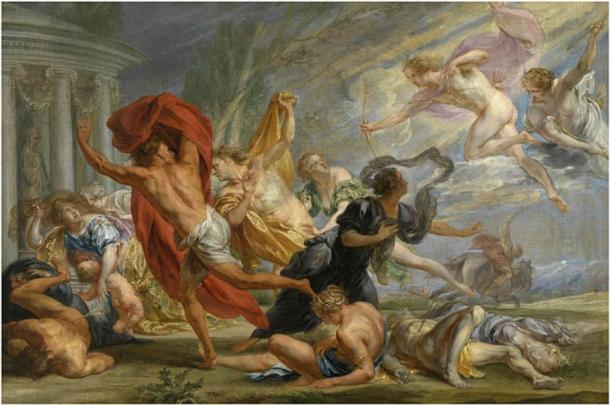 Apollo and Artemis kill the children of Niobe (Jan Boeckhorst / Public domain)