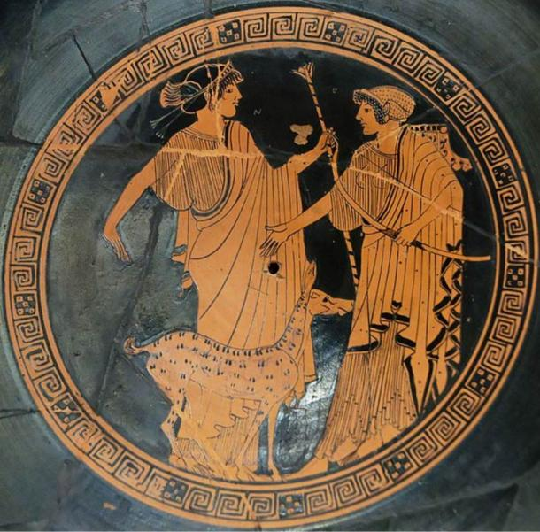 Apollo (left) and Artemis featured on Attic red-figure cup