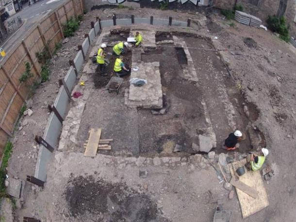 Overview of the archaeological excavation site in Edinburgh