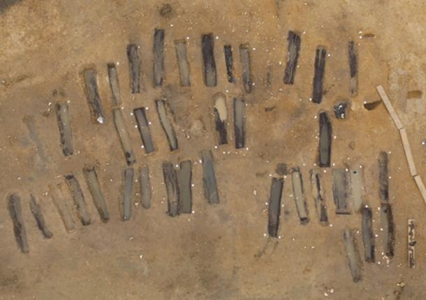 Aerial view of the archaeological excavations at an Anglo-Saxon cemetery at Great Ryburgh, Norfolk, England. © MOLA