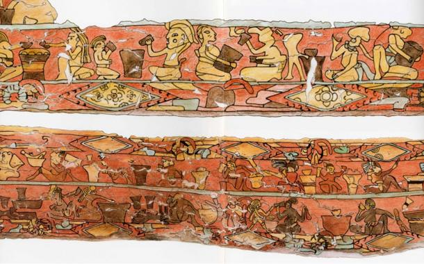 """Another of the archaeological finds at the Great Pyramid of Cholula is the mural called """"Los bebedores"""" (the drinkers)."""