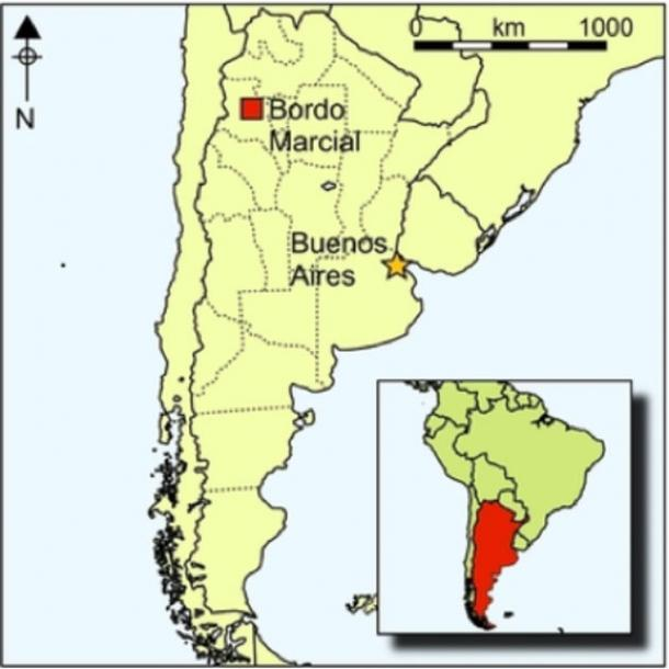 The archaeological site of Bordo Marcial in the La Quebrada locality, north-west Argentina, southern Andes.