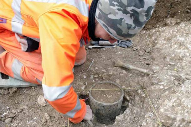 Archaeologists discovered a unique shale object near a Stonehenge grave during excavations being conducted before the construction of a controversial tunnel. (Wessex Archaeology)