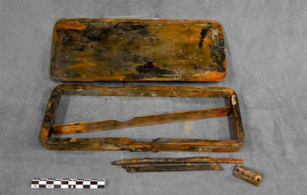 Underwater archaeologists found a pencil case in the HMS Erebus wreck. (Parks Canada)