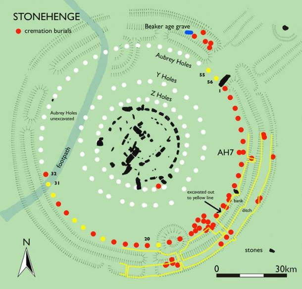 Some of the areas of Stonehenge that have been excavated. Located cremation burials are shown with a red dot.